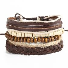 bracelet leather wrap images Beaded faux leather wrap bracelets in brown jpg