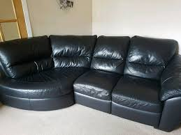 Black Leather Corner Sofa Black Leather Corner Sofa And Chair In Balloch West