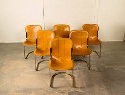 Leather Mid Century Chair Mid Century Leather Brass Dining Chairs By Willy Rizzo For Cidue