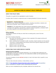 6 8 code of conduct policy template