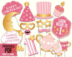 printable girly photo booth props twinkle twinkle little star printable first birthday girl photo