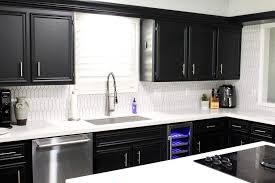 black kitchen cabinets with white countertop diy kitchen cleaning checklist and milk