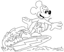 mickey mouse surfing wave coloring color luna