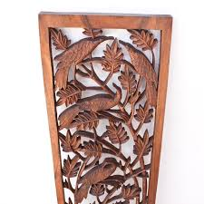 large relief wood wall panel of bamboo tree and birds carved