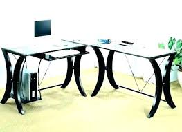 Glass Top Desk Office Depot Glass Top L Desk Shaped Office For Sale