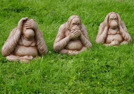 3 wise monkeys speak see hear no evil large garden ornament modern