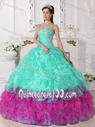 aqua green quinceanera dresses organza aqua and fuchsia quinceanera dress with ruffles and