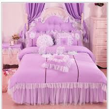 Cheap Purple Bedding Sets Purple Pink Blue Korean Lace Princess Bedding Set Cotton 3 4pcs