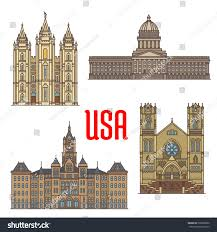 Utah travel city images Travel landmarks usa thin line icon stock vector 520002880 jpg