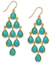 teardrop chandelier earrings lyst by ralph gold tone teardrop chandelier