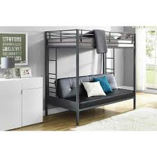 DHP Jasper Gunmetal Premium Twin Over Futon Bunk Bed With Black - Twin over futon bunk bed with mattress