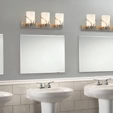 unique vanity lights and frameless mirror for vintage bathroom