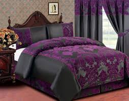bedroom stylish dark purple and black queen size bedding feat