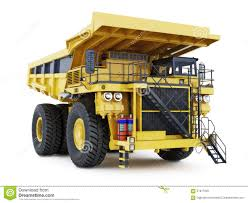 large industrial mining dump truck on an white background stock
