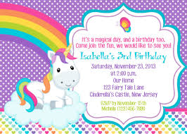 Invitations Cards For Birthday Parties Rainbow Unicorn Birthday Party Invitations Unicorn Birthday