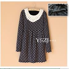 new fashion dot plus velour warm thickening dresses for women