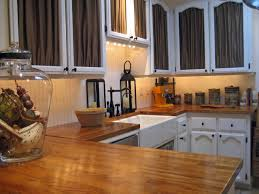 cool wooden butcher block countertops in u shaped kitchen design