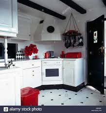 accessories in black and white kitchen with black white vinyl
