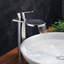 deck mounted waterfall copper finish chrome bathroom basin faucet