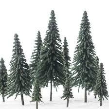 miniature flocked artificial pine trees miniatures