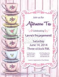 tea party invitation template on pink woodgrain plank background