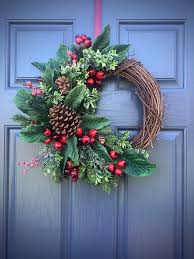 Images Of Decorated Christmas Wreaths by Pinecone Wreaths Winter Door Wreaths Green Red Winter Decor