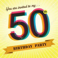50th birthday party invite template design retro style vector