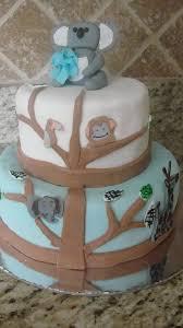 kt kakes jungle themed baby shower cake with koala topper