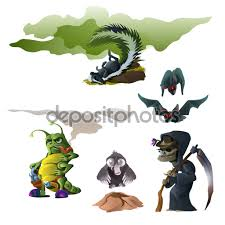 Bat For Halloween Skunk Bat Witch Insect And Mole For Halloween U2014 Stock Vector