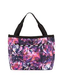lesportsac reversible palm tree tote bag in blue lyst
