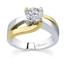 two engagement ring barkev s two tone solitaire engagement ring 6819l
