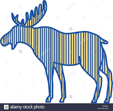 drawing sketch style illustration of a moose north america or