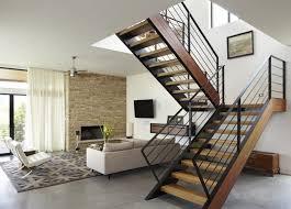 Hanging Stairs Design Living Room Fur Shag Area Rug Inspire Black Metal Railing Wooden