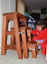 folding three step wood stool for basic household use