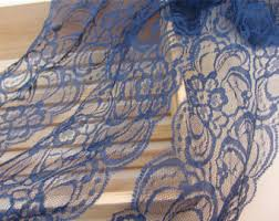 navy lace ribbon blue lace trim etsy