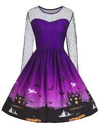 dresses purple 2xl vintage halloween pumpkin castle print plus