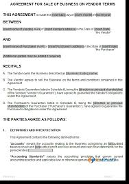 sale of business on vendors terms agreement template