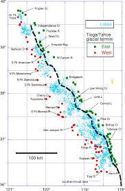 Sierra Nevada Mountains Map Rangewide Glaciation In The Sierra Nevada California Geosphere