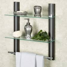 Shelves For Towels In Bathrooms Two Tier Glass Bathroom Shelf With Towel Bar