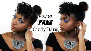 natural hair bun styles with bang how to fake bangs fast top knot bun on natural hair youtube