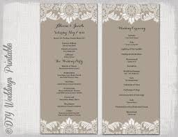 vintage wedding program template wedding program template taupe antique lace wedding order of
