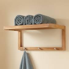 Shelves For Towels In Bathrooms Teak Towel Shelf With Hooks Bathroom
