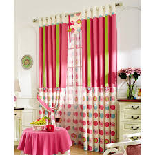 Green Kids Curtains Lovely Pink And Green Stripe And Circle Pattern Linen Kids Curtains