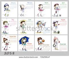 calendar 2018 cute season sketch stock illustration 735259162