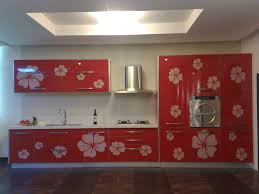 beauteous calm red floral motive decal for red kitchen cabinets