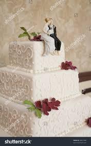 cake figurines classic white wedding cake figurines reception stock photo