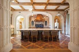 amusing tudor style kitchen featuring round shape brown color