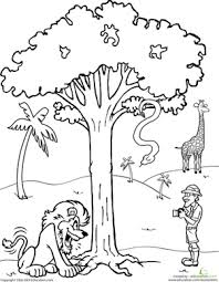 nature scene coloring pages color the safari scene worksheet education com
