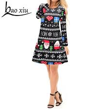 2018 Women Sexy Christmas Dress Female Fashion snowflake Print Long