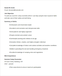 Working With Children Resume Sample Camp Counselor Resume Templates 6 Free Documents